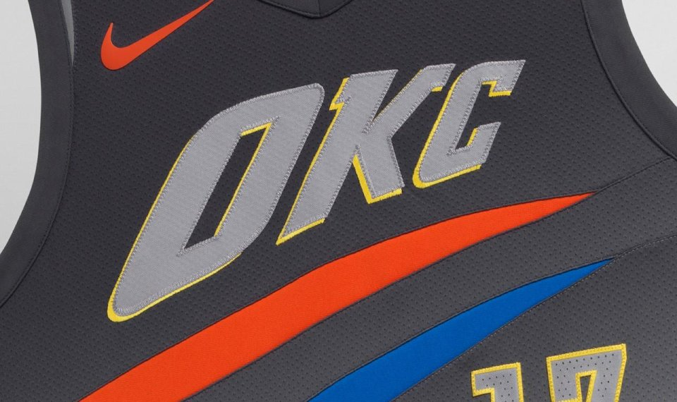4c0a5d9a The Thunder's new City Edition uniforms are gray with accents of blue,  orange and yellow