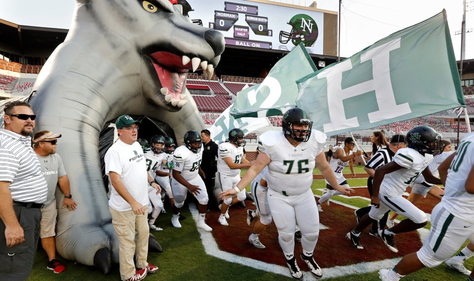 8b1eef3b8 Norman North players take the field earlier this season. The Timberwolves  host No. 2