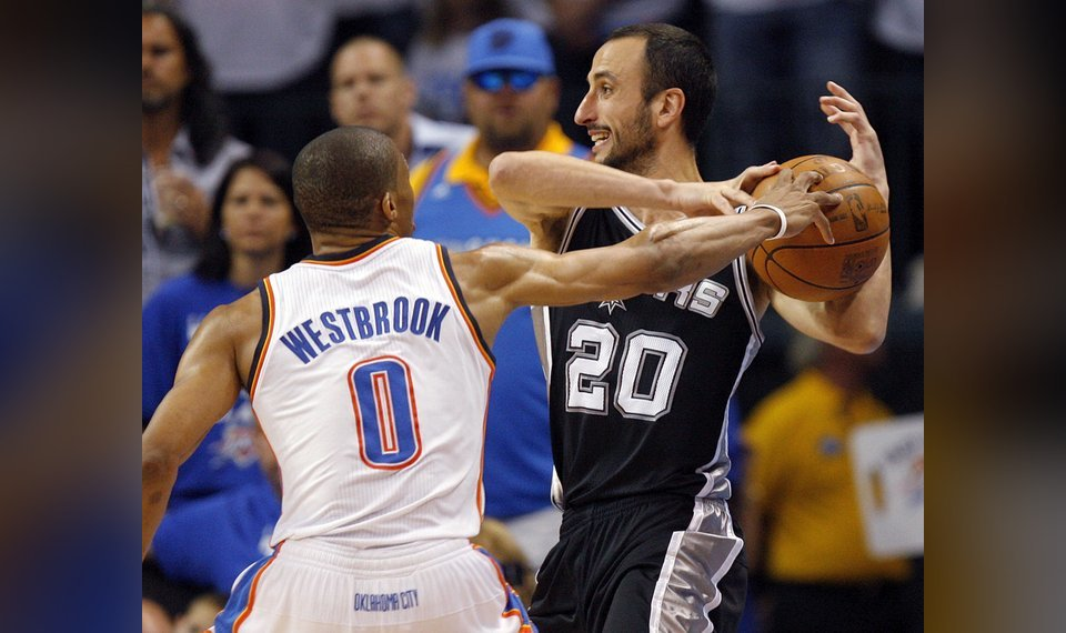 be0af816b71b Oklahoma City s Russell Westbrook (0) pressure s San Antonio s Manu  Ginobili (20) in