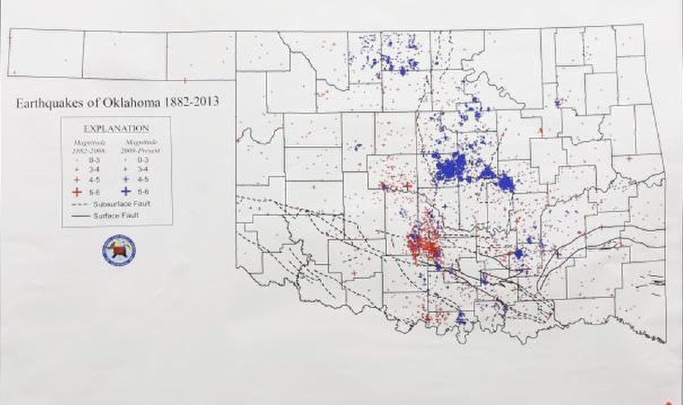 Oklahoma Earthquake Fault Line Map, A Chart Of Earthquake Activity In Oklahoma From  Is On Display At The, Oklahoma Earthquake Fault Line Map