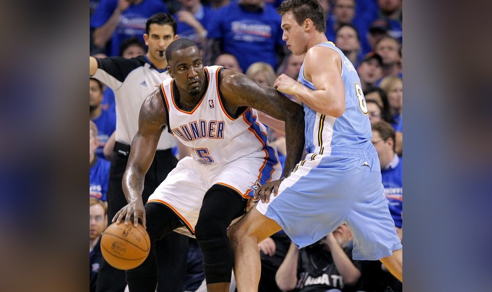 be660554a2a Related Photos Oklahoma City s Kendrick Perkins (5) battles on the baseline  with Denver s Danilo Gallinari (