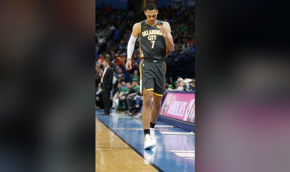 Oklahoma City's Darius Bazley (7) leaves the floor after injuring his knee in the first quarter during an NBA basketball game between the Oklahoma City Thunder and the Boston Celtics at Chesapeake Energy Arena in Oklahoma City, Sunday, Feb. 9, 2020. [Nate Billings/The Oklahoman]