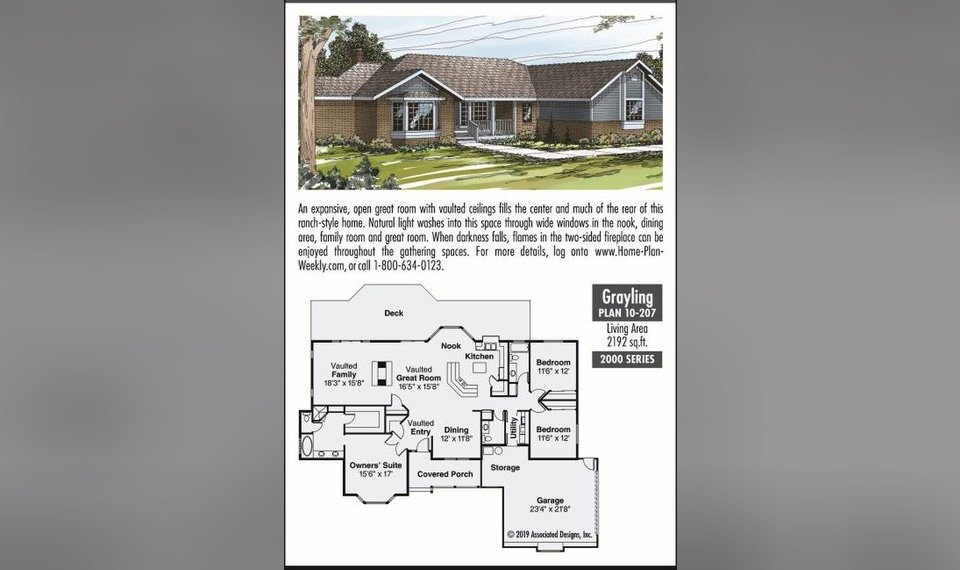 The Oklahoman's house plan for Feb. 23, 2019, the Grayling on wide mobile homes, wide shaped homes plans, double wide addition plans, wide building, 40' wide home plans,