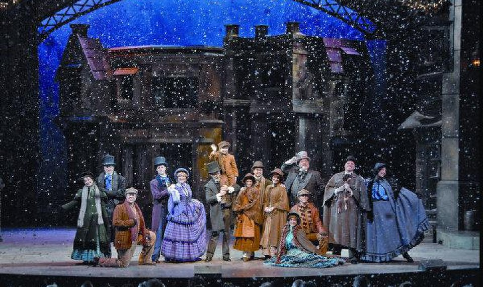 related photos the cast of the musical adaptation of dickens a christmas carol at silver