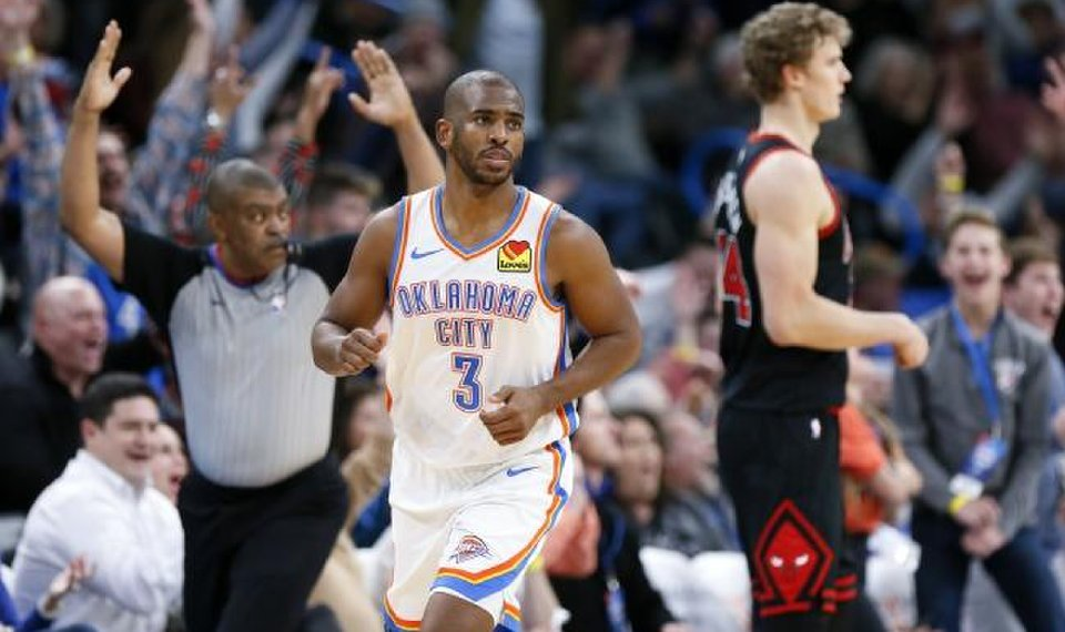 Image result for chris paul okc vs chicago bulls 2019-20