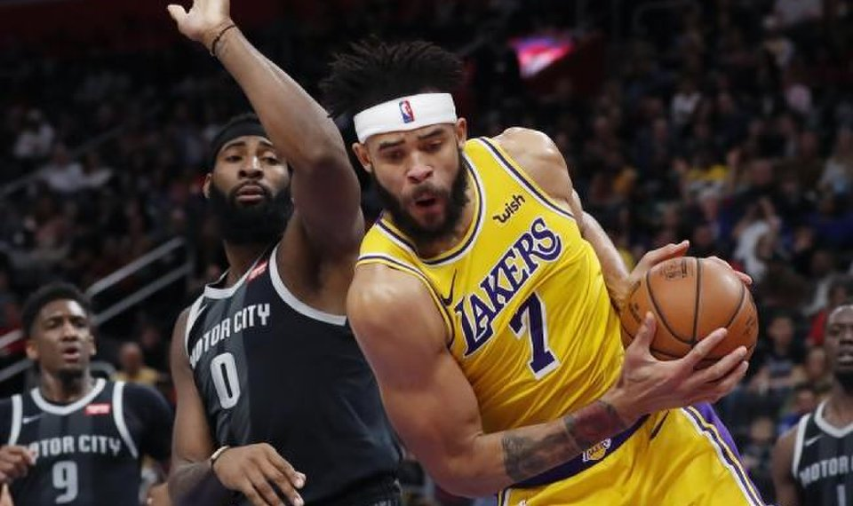 purchase cheap 5cc30 1fd0a Los Angeles Lakers center JaVale McGee, right, grabs a rebound as Detroit  Pistons center