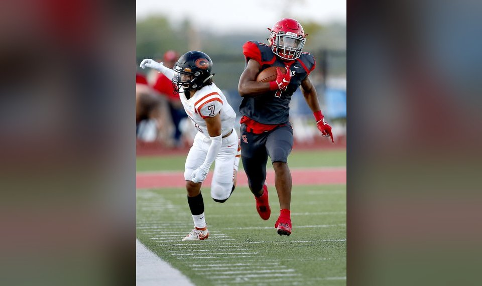 High school football: Carl Albert's Javion Hunt scores 5...
