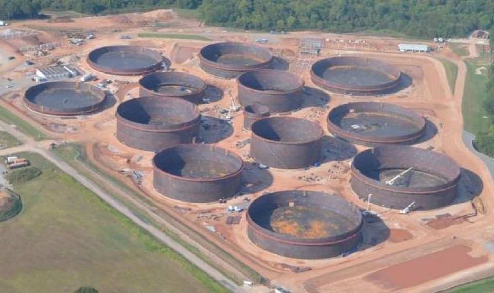 This photograph taken in August shows progress contractors are making in building Keyera's Wildhorse Terminal at the Cushing terminal. The tanks, which will have a total capacity of about 4 million barrels, are expected to be in service by the middle of next year. [PROVIDED BY GENSCAPE]