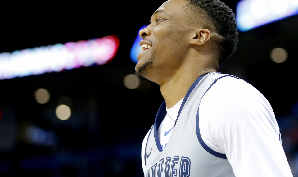 Oklahoma City s Russell Westbrook (0) laughs during the Thunder Blue and  White Scrimmage at 2e62226b6