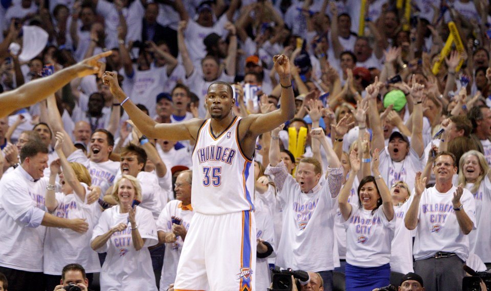 online store 843af 28b5a Oklahoma City s Kevin Durant (35) reacts during Game 6 of the Western  Conference Finals