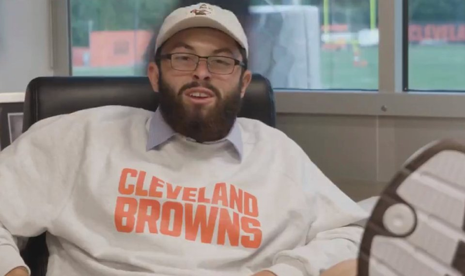 c81b86d45 Related Photos Baker Mayfield impersonates Cleveland s general manager John  Dorsey in this video frame posted to the Browns