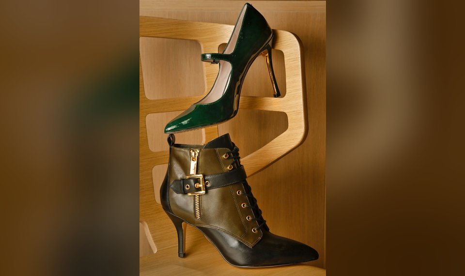 395ec1863831f9 Vince Camuto emerald patent stiletto with gold heel accent and Michael Kors  olive and black buckle