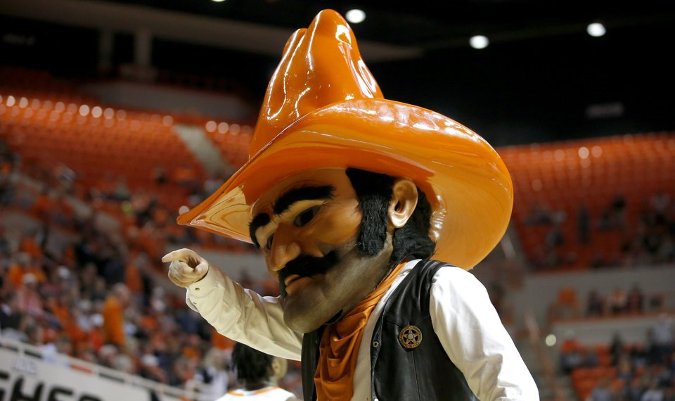 Pistol Pete walks on the court during an NCAA basketball game between the Oklahoma State University Cowboys (OSU) and the Texas Longhorns at Gallagher-Iba Arena in Stillwater, Okla., Wednesday, Jan. 15, 2020. Oklahoma State lost 76-64. [Bryan Terry/The Oklahoman]