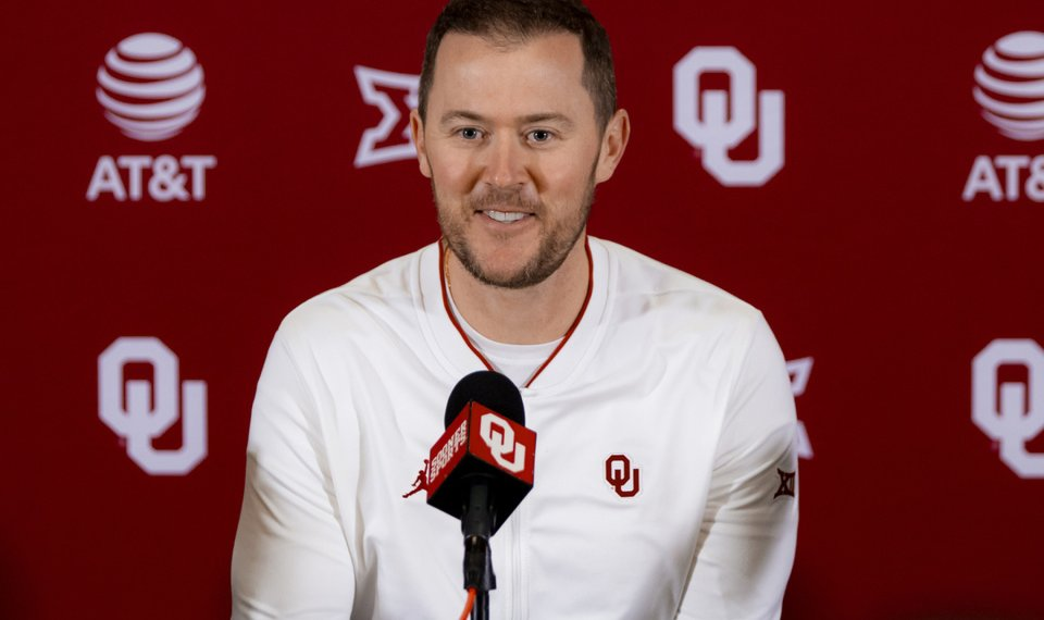 University of Oklahoma head football coach Lincoln Riley speaks during a press conference at OU in Norman, Okla. on Wednesday, Feb. 12, 2020.  [Chris Landsberger/The Oklahoman]