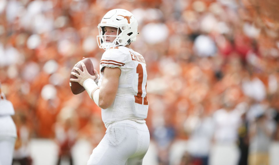 Texas quarterback Sam Ehlinger responds to Baker Mayfield's...