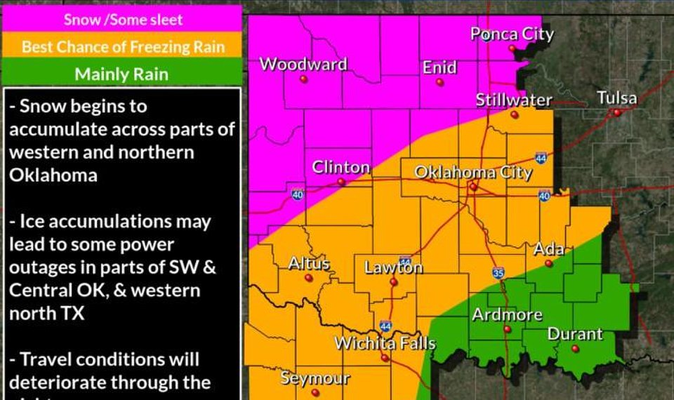 Winter weather is expected in Oklahoma beginning Friday, forecasters say. [Image provided by the National Weather Service]