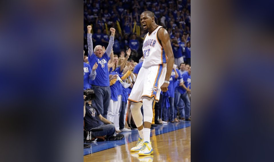 87c9859f9f9c Oklahoma City s Kevin Durant (35) celebrates during Game 1 in the first  round of