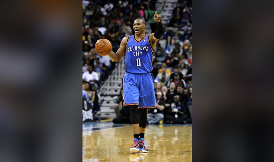 fbc5e9d20a96 Oklahoma City Thunder point guard Russell Westbrook (0) calls to his team  during the