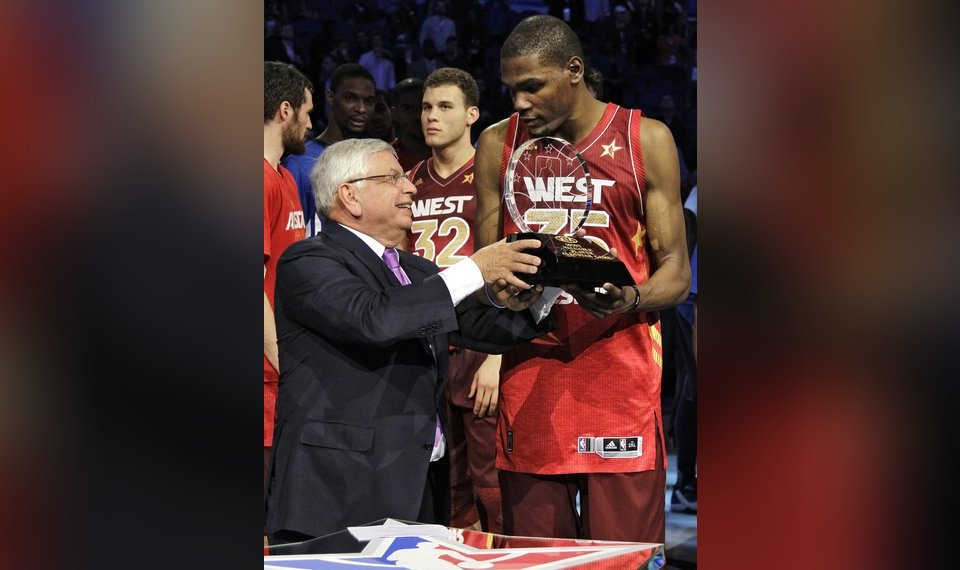 eec79b1c74d Commissioner David Stern presents the Most Valuable Player trophy to Western  Conference s Kevin Durant (35