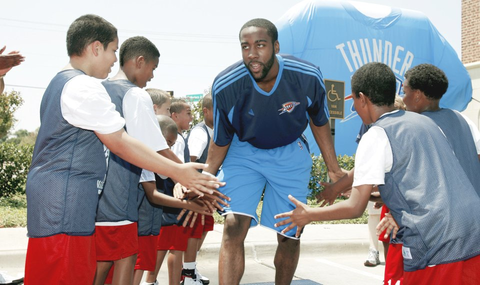 94d2f036d37 The Thunder  8217 s top pick James Harden is introduced to the fans at