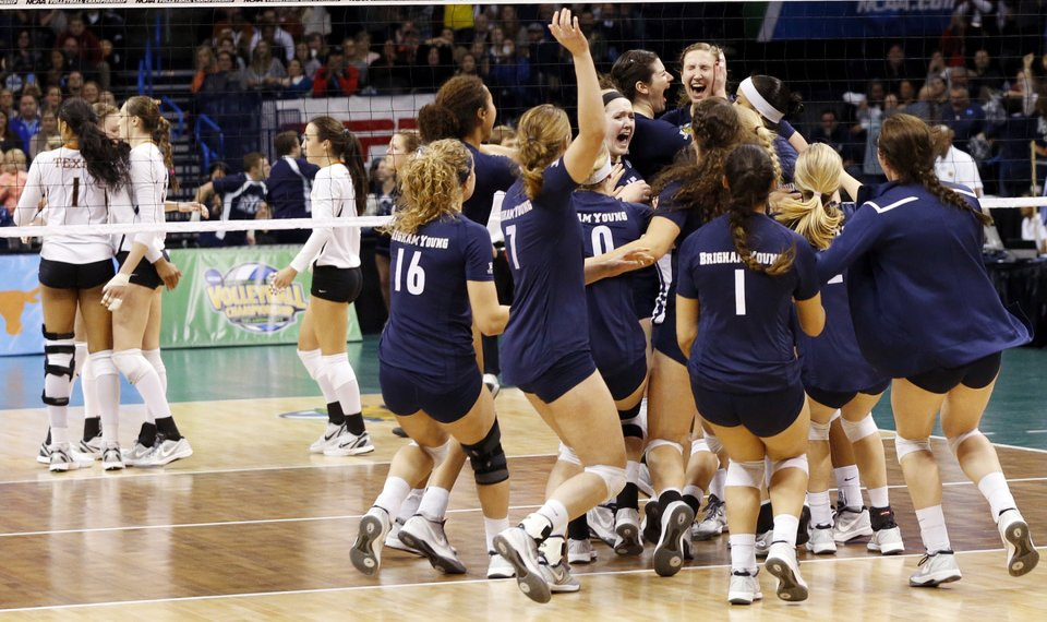 d9e6eba2110b BYU celebrates after defeating Texas during a semifinal game in the NCAA  Division I Women s Volleyball