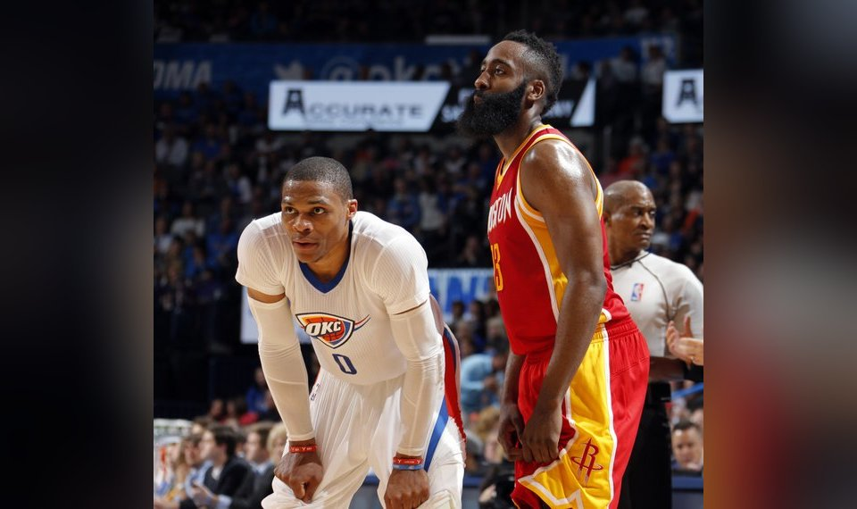 7d3ae822e4ae The MVP race will likely come down to former teammates Russell Westbrook  and James Harden.