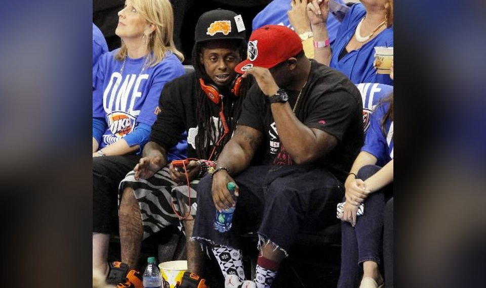 fe8898ee1171 Related Photos Rapper Lil Wayne sits courtside during Game 1 of the NBA  Finals in Oklahoma City June