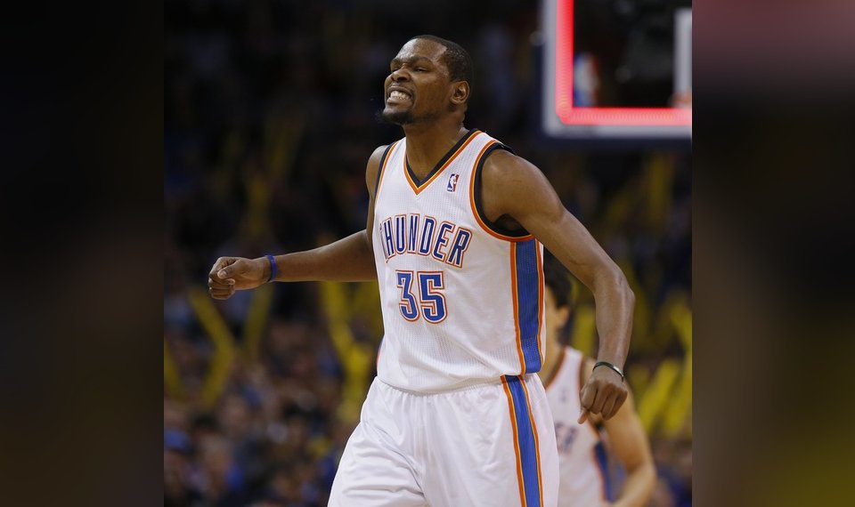 3bf00120110f Oklahoma City s Kevin Durant (35) celebrates during an NBA basketball game  between the Oklahoma