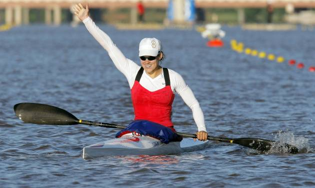 Carrie Johnson Reacts After Winning The Womens Kayak 500m Final To Qualify For Olympic Team During USA Canoe US Trials On