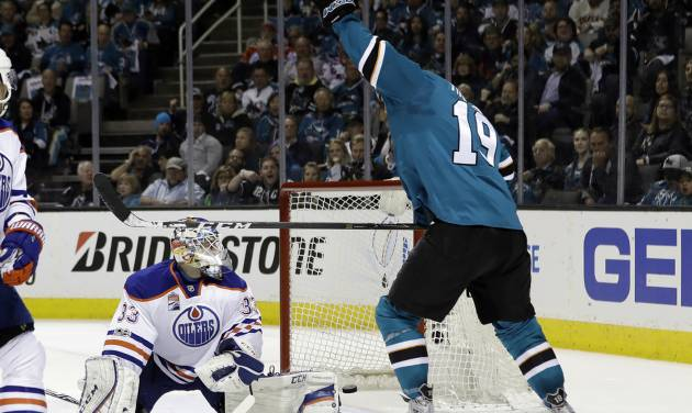 Sharks even National Hockey League at 2-2, belting Oilers 7-0