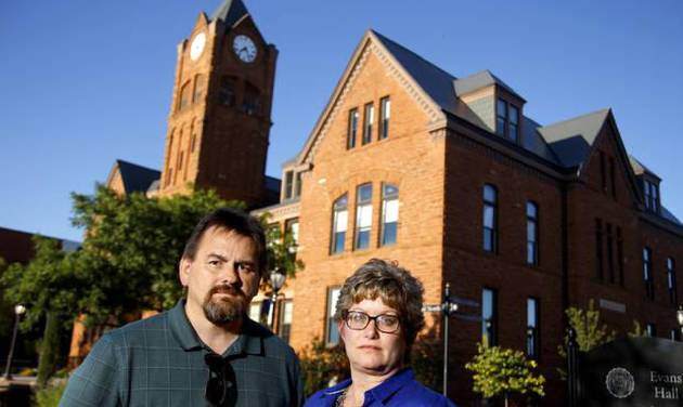 Margaret and Wayne DeShazer stand outside Old North on the University of Central Oklahoma\'s...