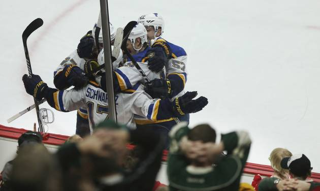 Blues take 3-0 series lead over Wild
