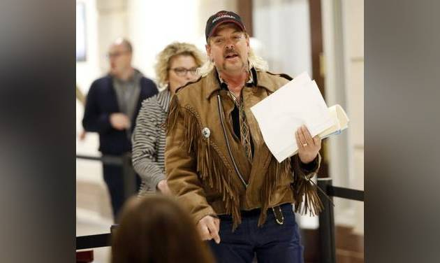In this 2018 photo, Joe Exotic files to run for governor of Oklahoma as a Libertarian candidate. [Oklahoman Archive Photo]