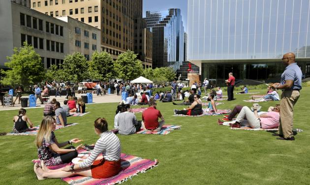 Downtown Oklahoma City Partnership treated downtown workers to free pizza, snow cones and live...