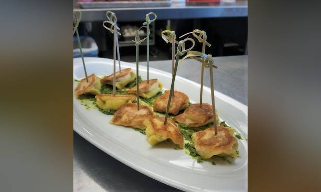 Toasted Cheese Ravioli was served at the farewell wine dinner for Enis Mullaliu last week at Vast.