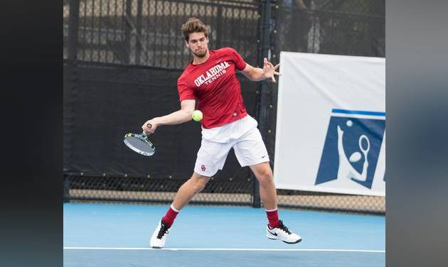 Oklahoma\'s Spencer Papa, shown here in 2016, won the NCAA Men\'s Tennis Doubles Championship with...