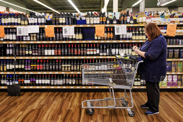 The new wine section is stocked, and ready  for sales to begin on Oct. 1st. at the Homeland store located at Britton Rd. and May Ave. in Oklahoma City, Okla. on Wednesday, Sept. 26, 2018. Photo by Chris Landsberger, The Oklahoman