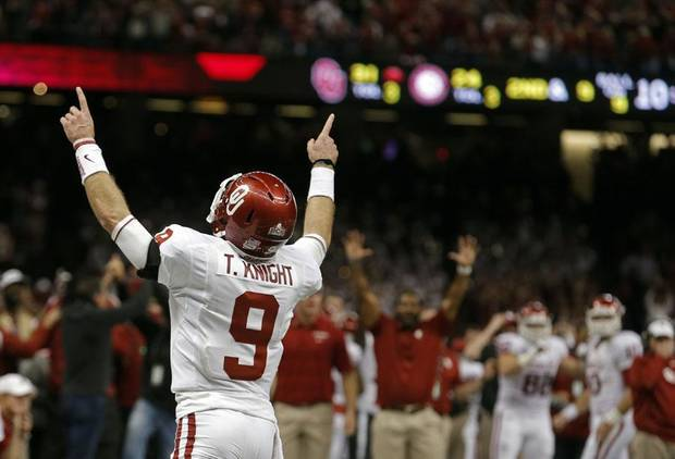 Oklahoma's Trevor Knight (9) celebrates a touchdown during the NCAA football BCS Sugar Bowl game between the University of Oklahoma Sooners (OU) and the University of Alabama Crimson Tide (UA) at the Superdome in New Orleans, La., Thursday, Jan. 2, 2014.  .Photo by Sarah Phipps, The Oklahoman
