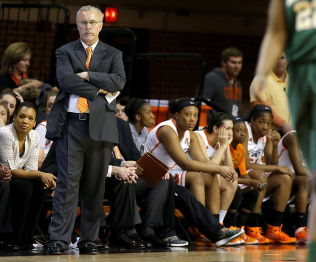 Oklahoma State coach Jim Littell watches during the final seconds of a women's college basketball game between the Oklahoma State University Cowgirls (OSU) and the University of Baylor Lady Bears at Gallagher-Iba Arena in Stillwater, Okla.,Wednesday, Feb. 4, 2015. Oklahoma State lost 69-52. Photo by Bryan Terry, The Oklahoman