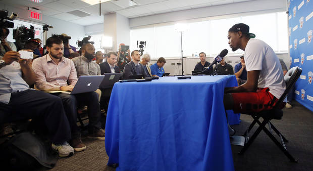 Oklahoma City's Kevin Durant speaks to the press during exit interviews for the Oklahoma City Thunder on Wednesday. (Photo by Nate Billings, The Oklahoman)