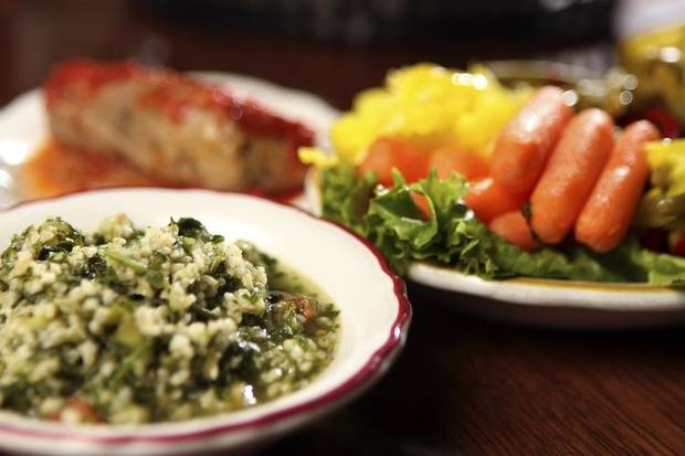RESTAURANT / FOOD: Tabouli, cabbage roll and relish at Jamil's Steakhouse in Oklahoma City, Monday, June 20, 2011. Photo by Garett Fisbeck, The Oklahoman ORG XMIT: KOD