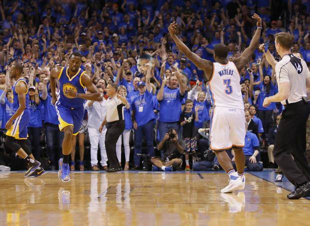 Oklahoma City's Dion Waiters (3) celebrates a 3-point basket during Game 6 of the Western Conference finals in the NBA playoffs between the Oklahoma City Thunder and the Golden State Warriors at Chesapeake Energy Arena in Oklahoma City, Saturday, May 28, 2016. Photo by Sarah Phipps, The Oklahoman