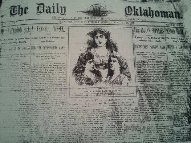 The January 16, 1894 edition of The Daily Oklahoman - the third issue and the earliest intact front page I could find on microfilm.