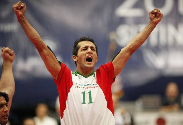 UCO / U.S. / USA / UNITED STATES: Iran's Ramezan Salehihajikolaei celebrates during the 2010 Sitting Volleyball World Championships Men's gold medal match between Iran and Bosnia-Herzegovina, Sunday, July 18, 2010, at the University of Central Oklahoma, in Edmond, Okla. Photo by Sarah Phipps, The Oklahoman.      ORG XMIT: KOD