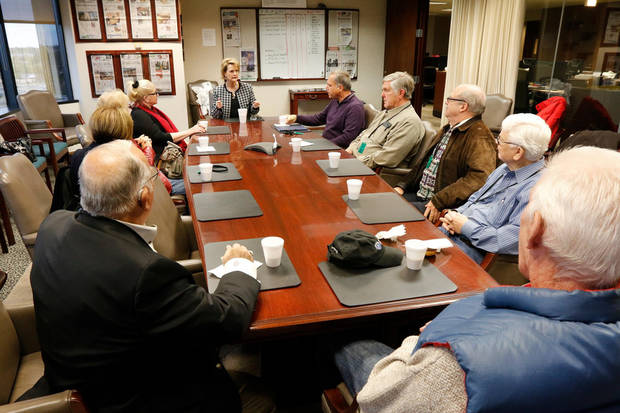 The Oklahoman's Editor Kelly Dyer Fry meets with subscribers. Photo by Paul Hellstern.
