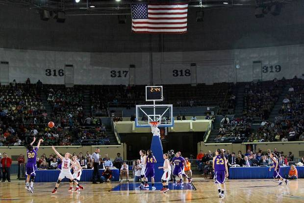 Anadarko and Ft. Gibson take to the court during the 4A girl State Basketball Championship game between Ft. Gibson High School and Anadarko High School at State Fair Arena on Saturday, March 10, 2012 in Oklahoma City, Okla.  Photo by Chris Landsberger, The Oklahoman