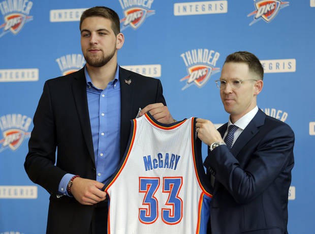 Sam Presti introduces Thunder draft pick Mitch McGary at the Oklahoma History Center in Oklahoma CIty,  Friday, June 27, 2014. Photo by Sarah Phipps, The Oklahoman