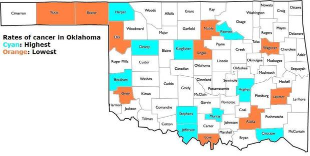 the oklahoma state department of health keeps track of cancer rates throughout the state i wanted to see which counties have the highest and lowest rates