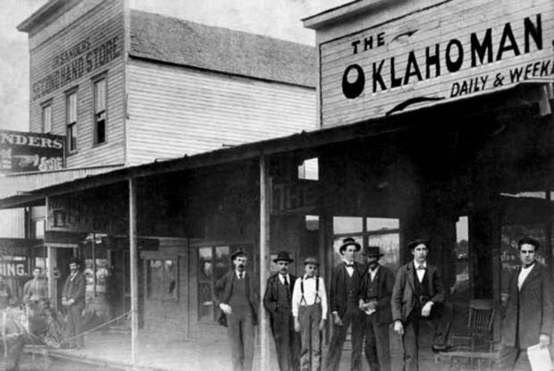 Second home for The Oklahoman, 26 W Main, circa 1896, courtesy of the Metropolitan Library System.