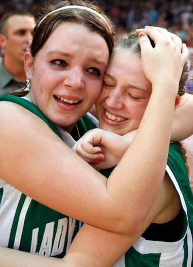 Varnum's Jordan Hamilton, left, and Devin Satawake celebrate their Class B State Basketball championship win over Cyril, Saturday, March 7, 2009, at the State Fair Arena in Oklahoma City . PHOTO BY SARAH PHIPPS. THE OKLAHOMAN